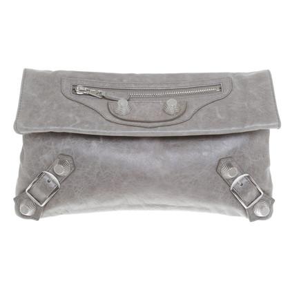 Balenciaga pelle liscia grigio clutch
