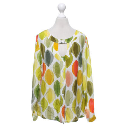 Piu & Piu Silk blouse in white / multicolor