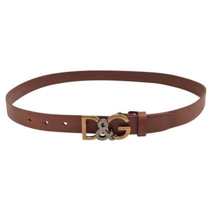 Dolce & Gabbana cintura in pelle marrone