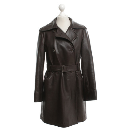 Jil Sander cappotto di pelle in marrone scuro