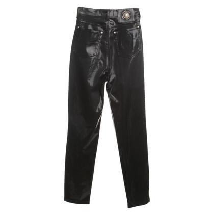 Versace Glänzende Hose in Schwarz