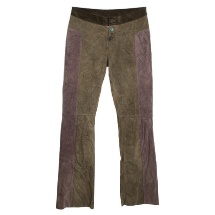Marni Lambskin trousers in Khaki / Purple