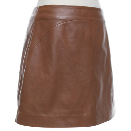 Reiss Jupe en cuir marron
