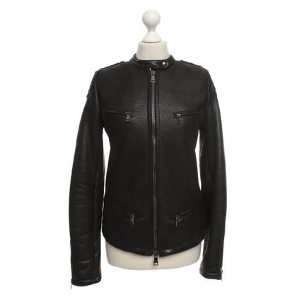 Giorgio Brato Leren jas in zwart
