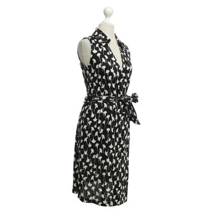 Diane von Furstenberg Abito di seta in bianco e nero