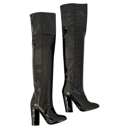 Chanel Patent Lamb's Leather Overknee Boots