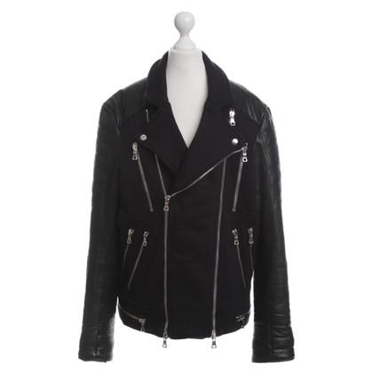 Balmain Leren jas zwart