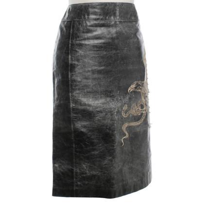Roberto Cavalli Leather skirt in used look