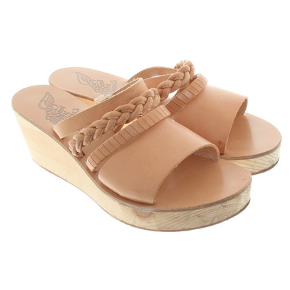 Ancient Greek Sandals Wedges in nude