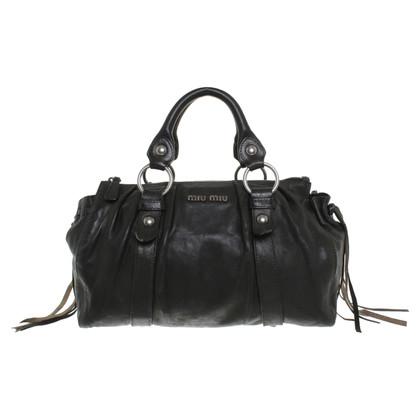 Miu Miu Lederhandtasche in Schwarz