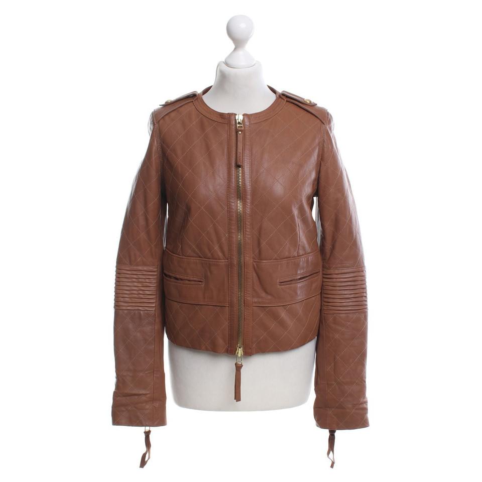pinko veste en cuir marron acheter pinko veste en cuir. Black Bedroom Furniture Sets. Home Design Ideas