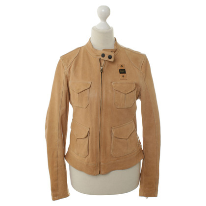 Blauer USA Leather Jacket in Beige