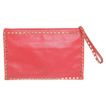 Valentino Rockstud clutch coral red