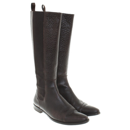 Santoni Leather Boots in Brown