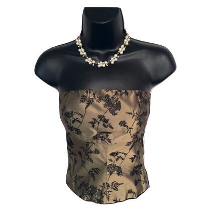 Karen Millen Bronze Silk Mix Corset Top