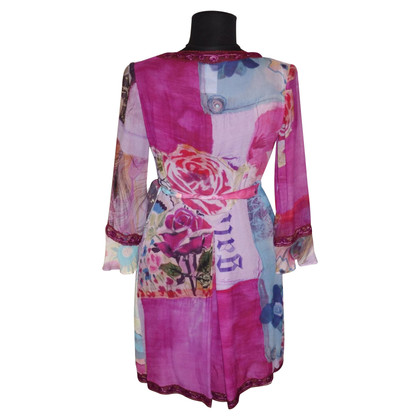 John Galliano Silk wrap dress with print