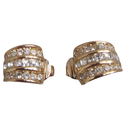Christian Dior Rhinestone goldplated earrings.
