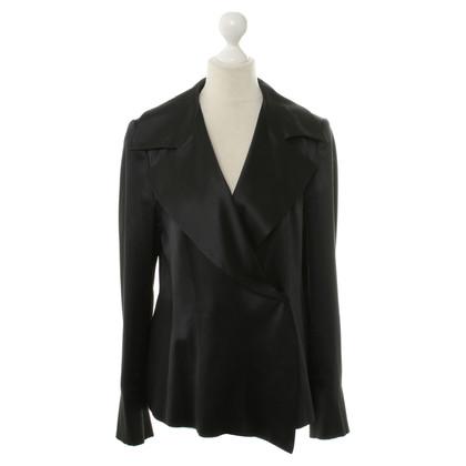 René Lezard Silk Blazer in black