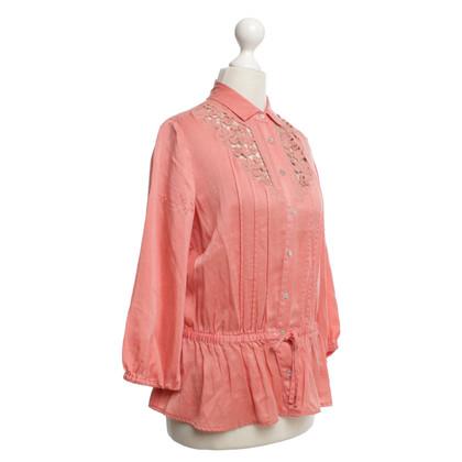 Hugo Boss Ingericht blouse in zalm kleuren