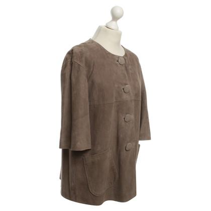Tara Jarmon Leather Jacket in Taupe