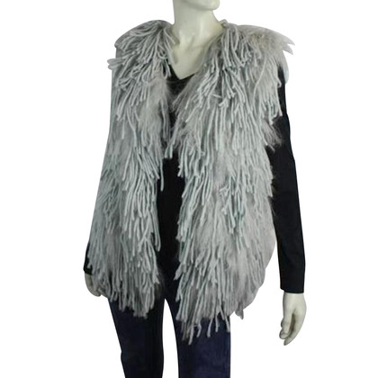 Marc Cain Sleeveless vest with fur fringes