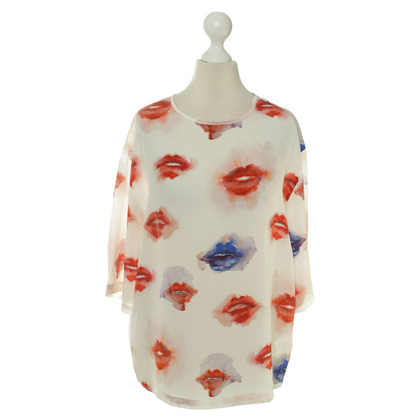 MSGM Watercolor print silk blouse