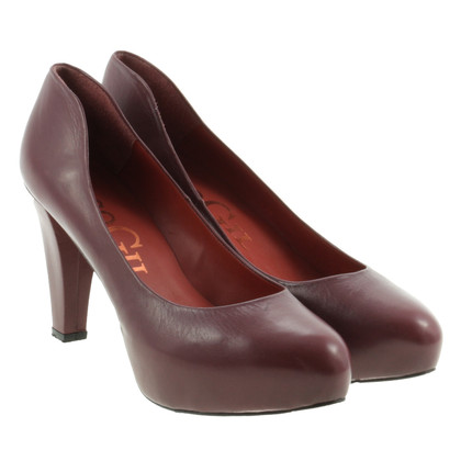 Paco Gil Plateau-Pumps in Weinrot