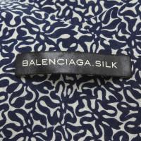 Balenciaga Seidentop in Blau/Beige