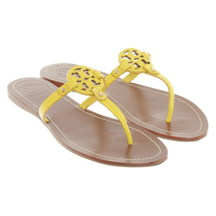 Tory Burch Ledersandalen in Gelb