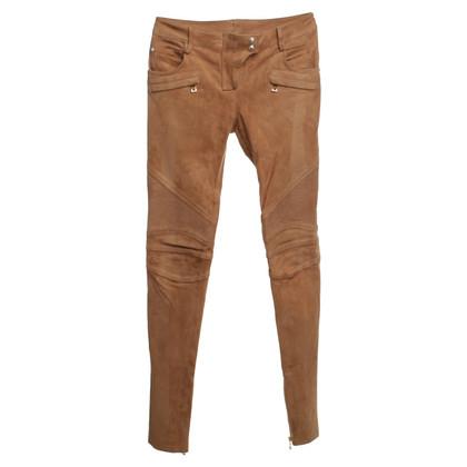 Balmain Pantaloni in pelle scamosciata