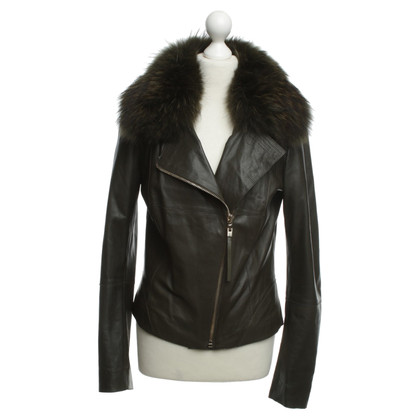 Hôtel Particulier Leather jacket with fur collar