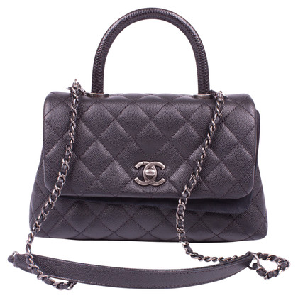"Chanel ""Top Handle Flap Bag"" Caviar Leather"