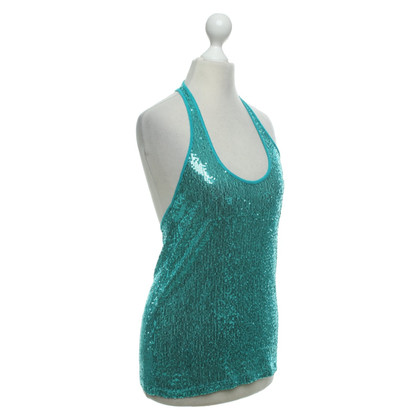 Patrizia Pepe Sequined tank top in turquoise