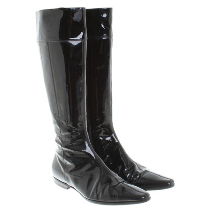 Burberry Lacklederstiefel in Schwarz