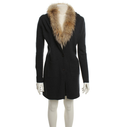 FTC Knitted coat with fur collar