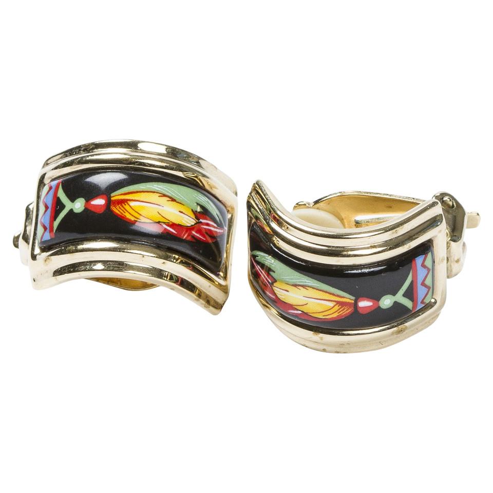 Hermès Enamel Clip Boucles d'oreilles