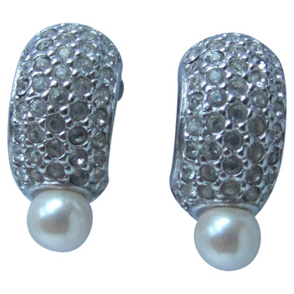 Christian Dior Rhinestone pearl earrings