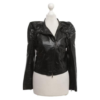 Miu Miu Leren jas in zwart