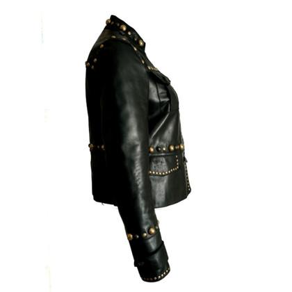 Gucci Giacca in pelle con borchie dorate