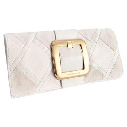 Michael Kors white clutch with golden buckle.