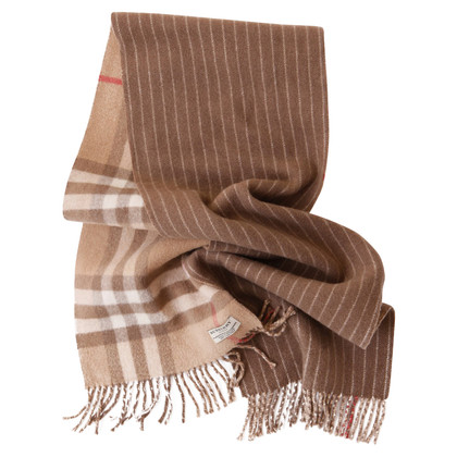 Burberry Checked scarf with cashmere trim