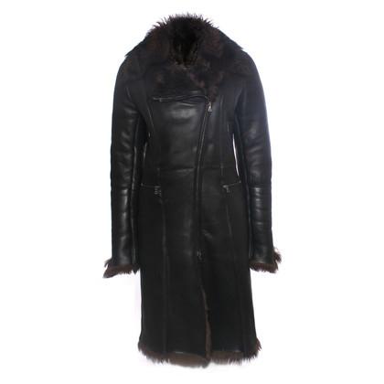 Vent Couvert Manteau de cuir d'agneau noir