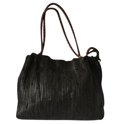 Adolfo Dominguez Gray leather handbag