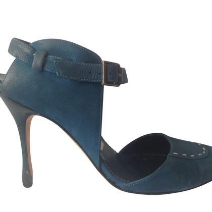Manolo Blahnik Blue soft textured matt leather heels