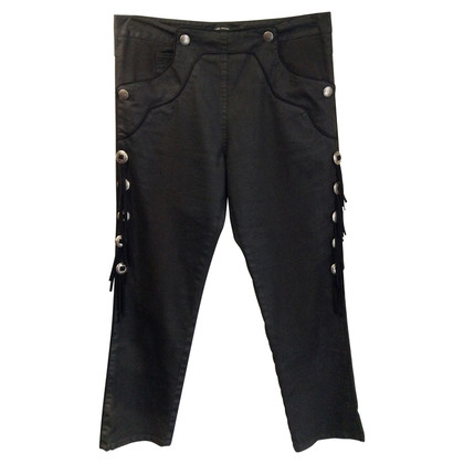 Isabel Marant Black trousers with leather fringes