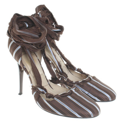 Lanvin Striped pumps with lacing