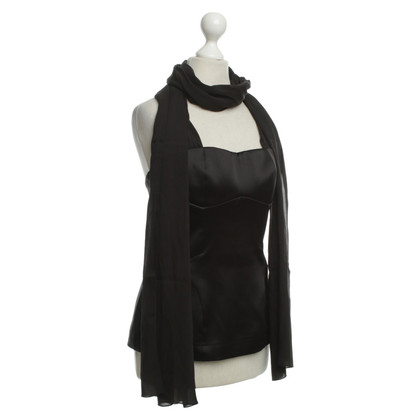 Roberto Cavalli Black top with scarf