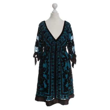 Hale Bob Dress in teal/dark brown