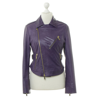Philipp Plein Leather jacket purple