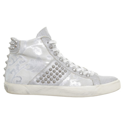 Leather Crown Beige sneakers with rivets
